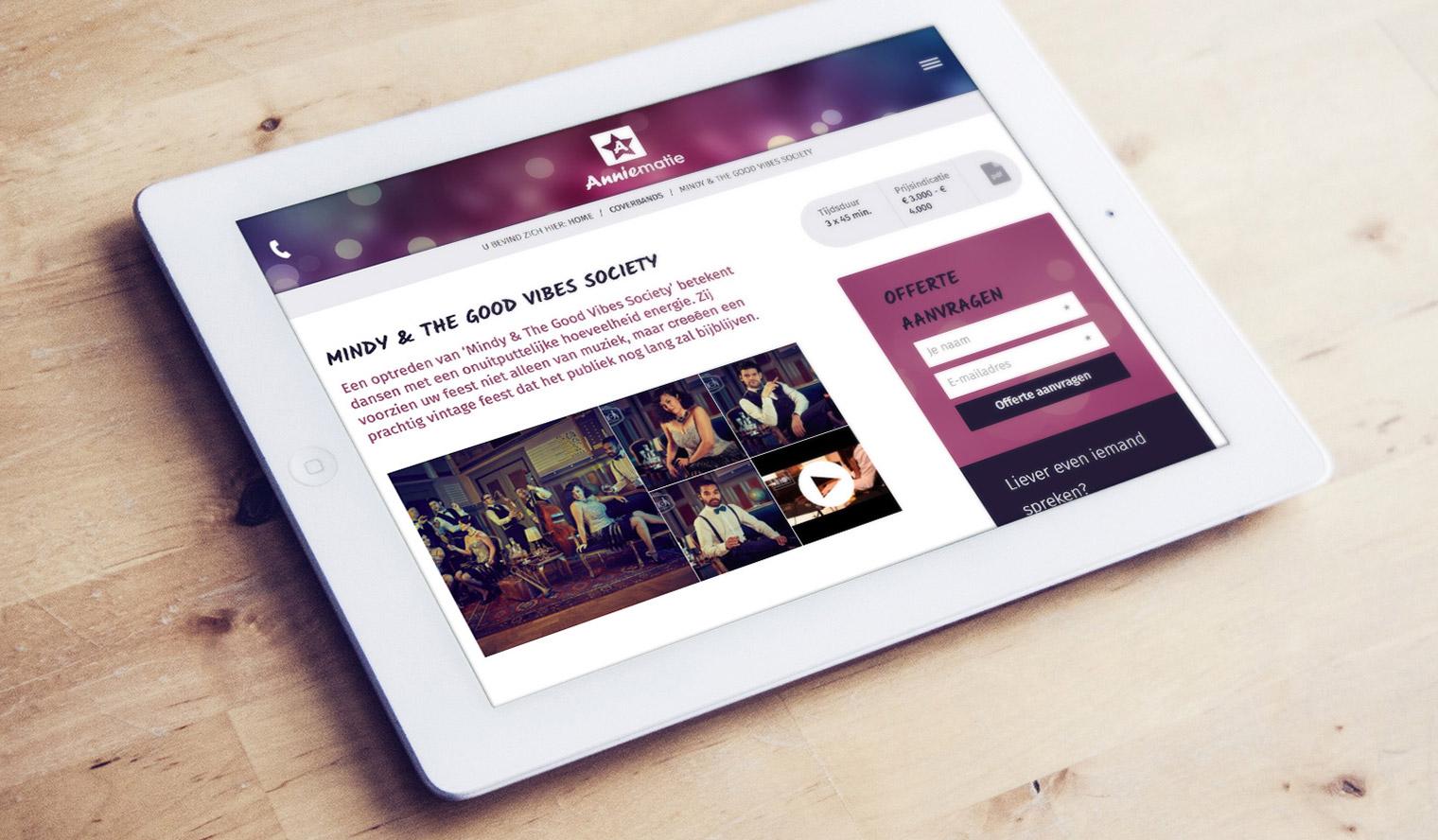 website op tablet ipad