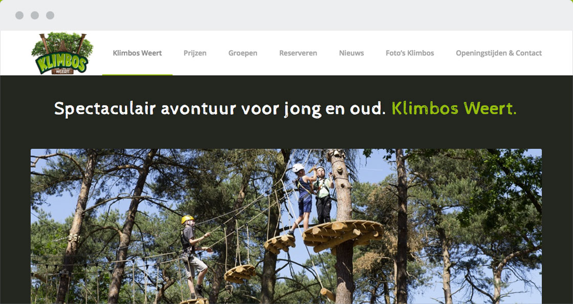 webdesign klimbos recreatie website