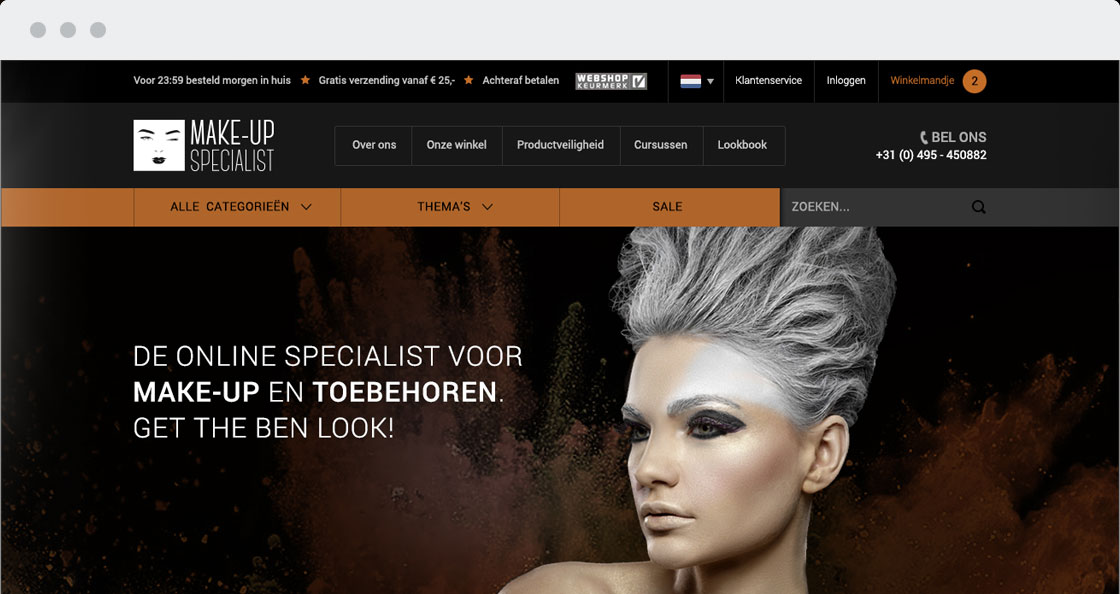 makeup webshop magento donkere