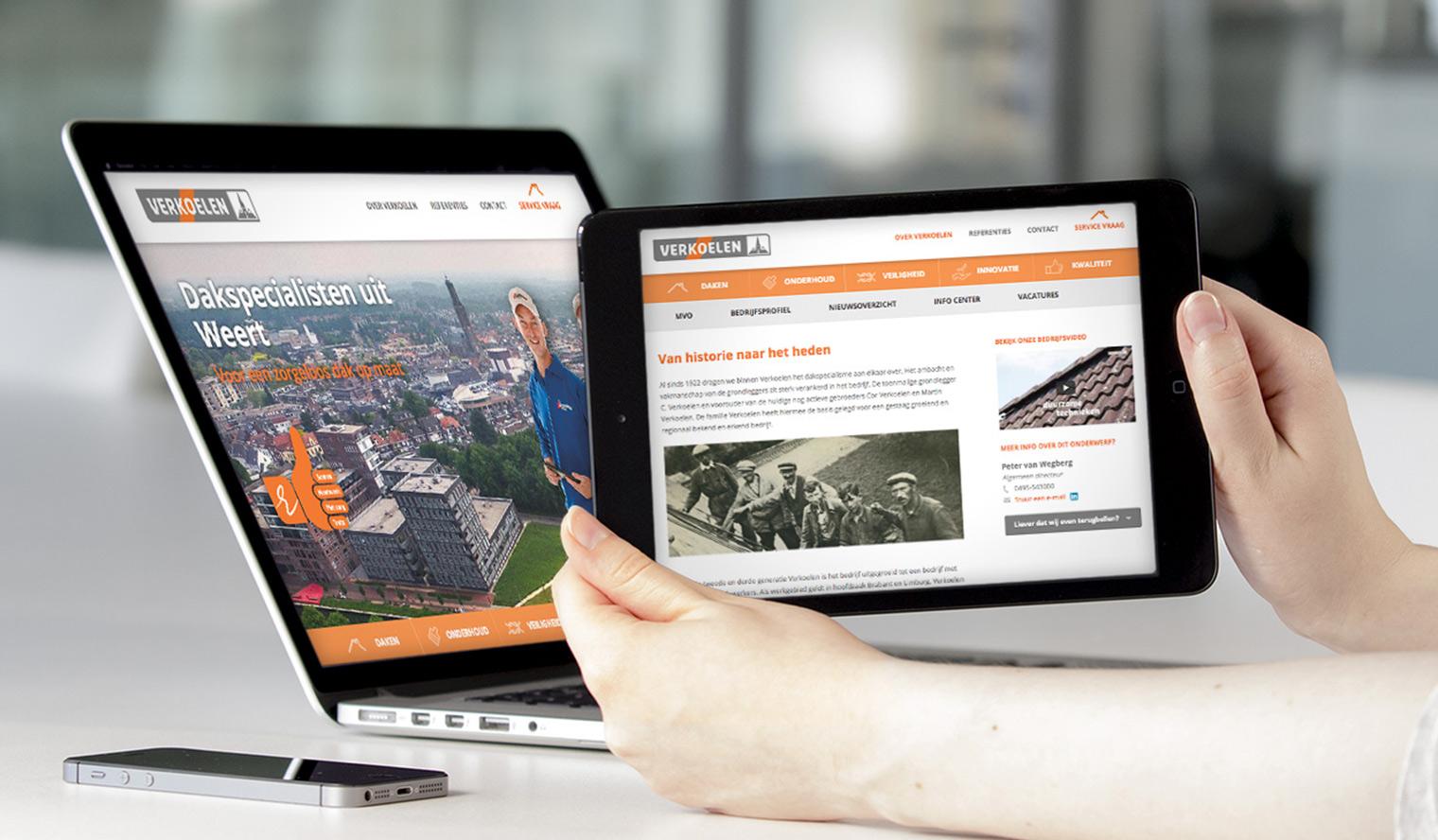 tablet vriendelijke website verkoelen bouwbranche